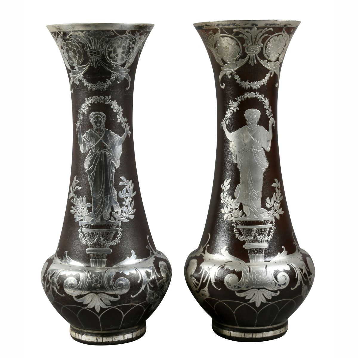 Pair of french art glass vases with silver overlay david neligan pair of french art glass vases with silver overlay reviewsmspy