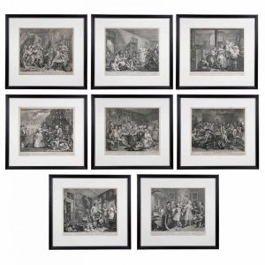 William Hogarth, Complete Set of Eight Engravings of 'The Rakes Progress'.