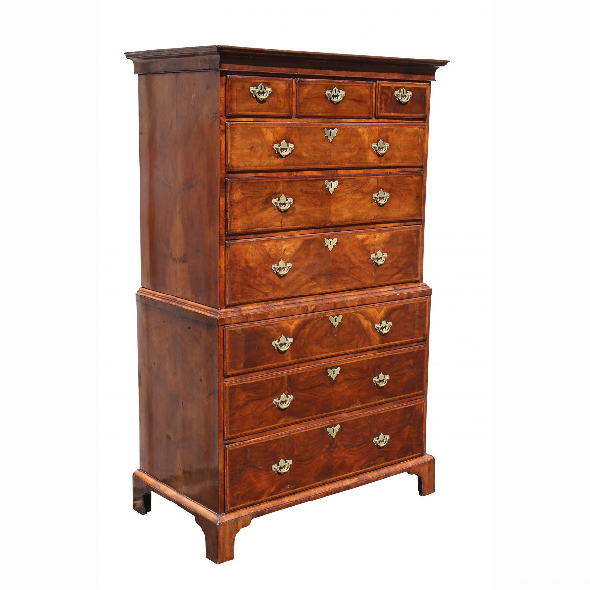George II Walnut Chest on Chest