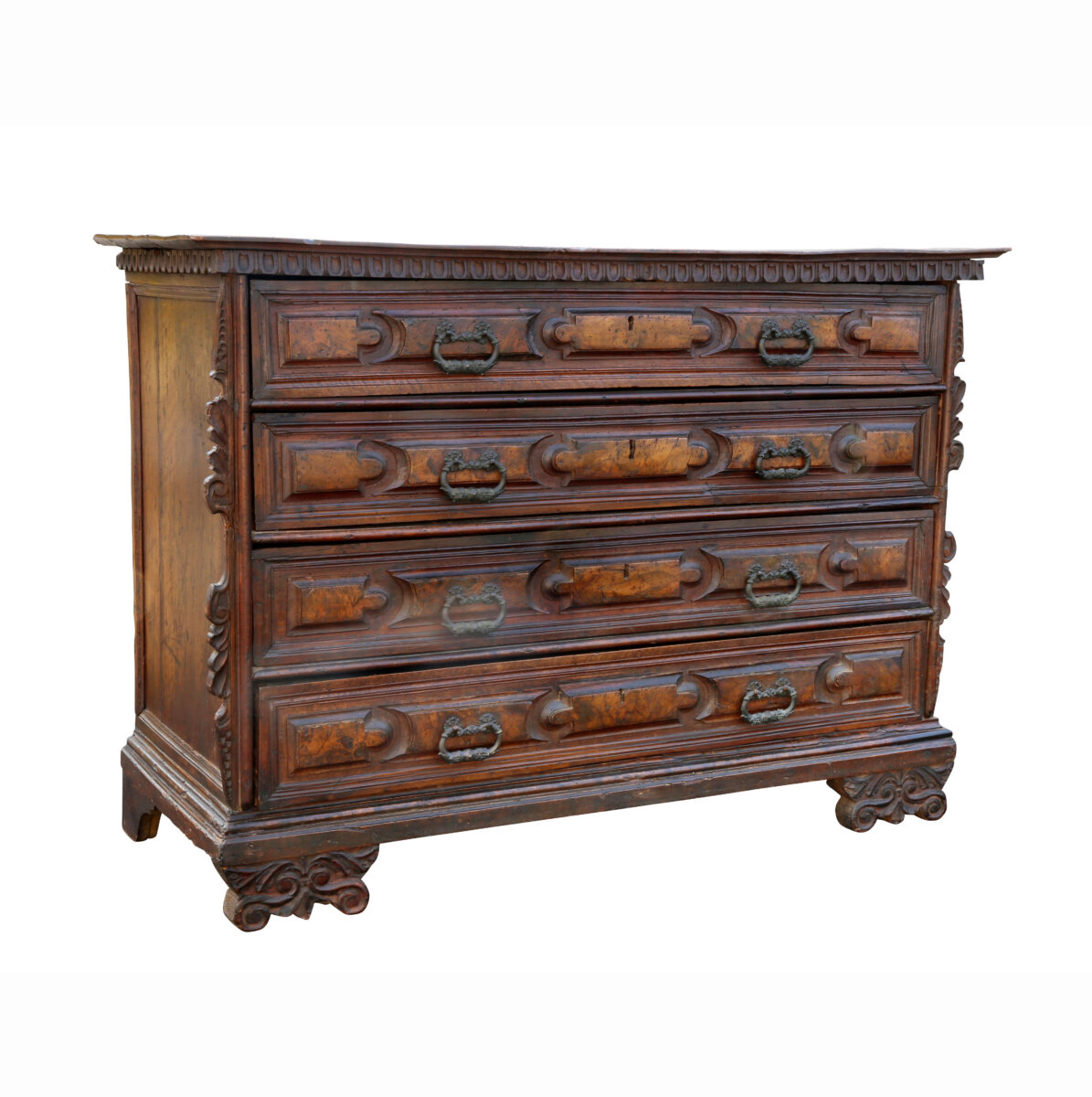 Impressive Italian Baroque Walnut and Burl Walnut Commode