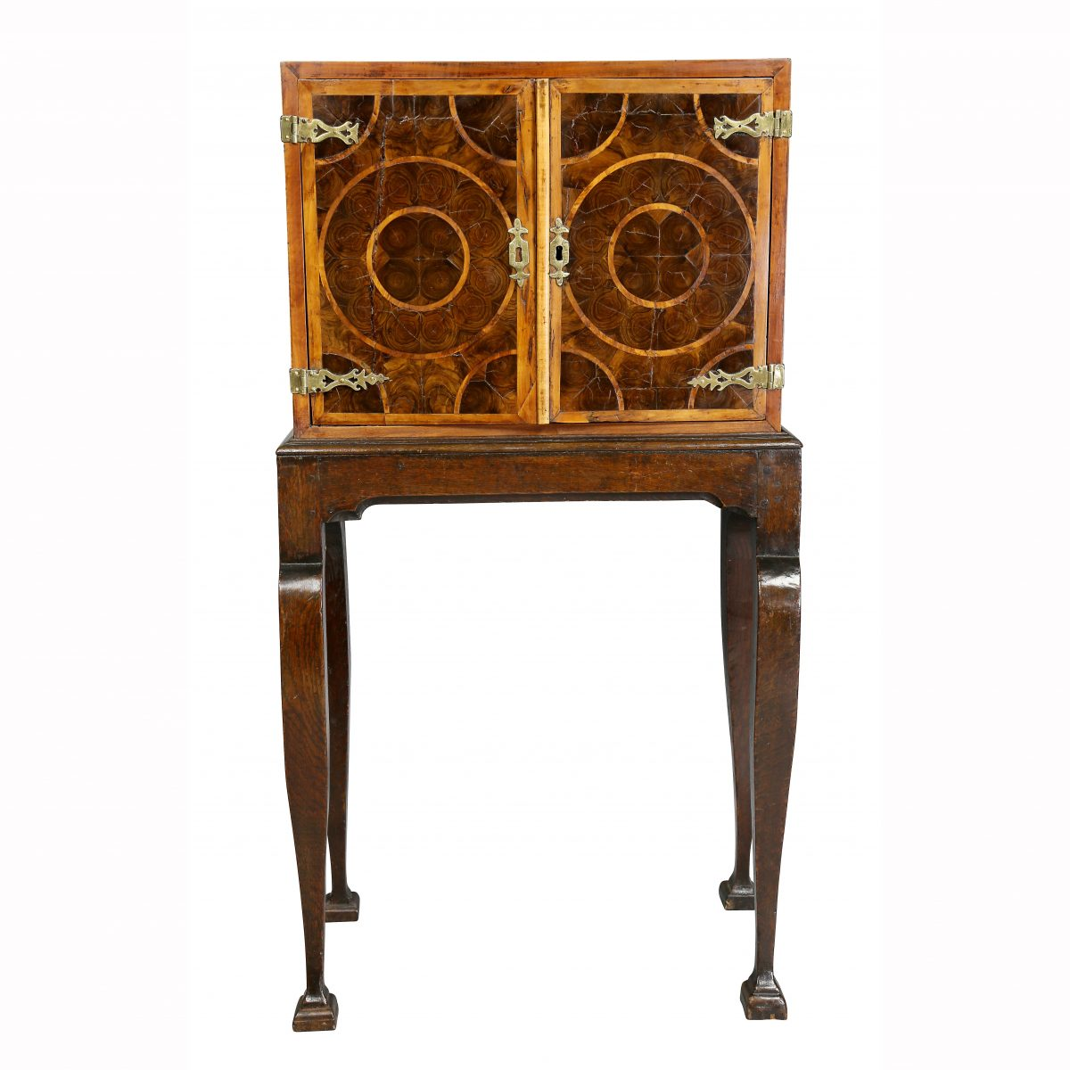 William and Mary Oyster Veneer Cabinet on Stand