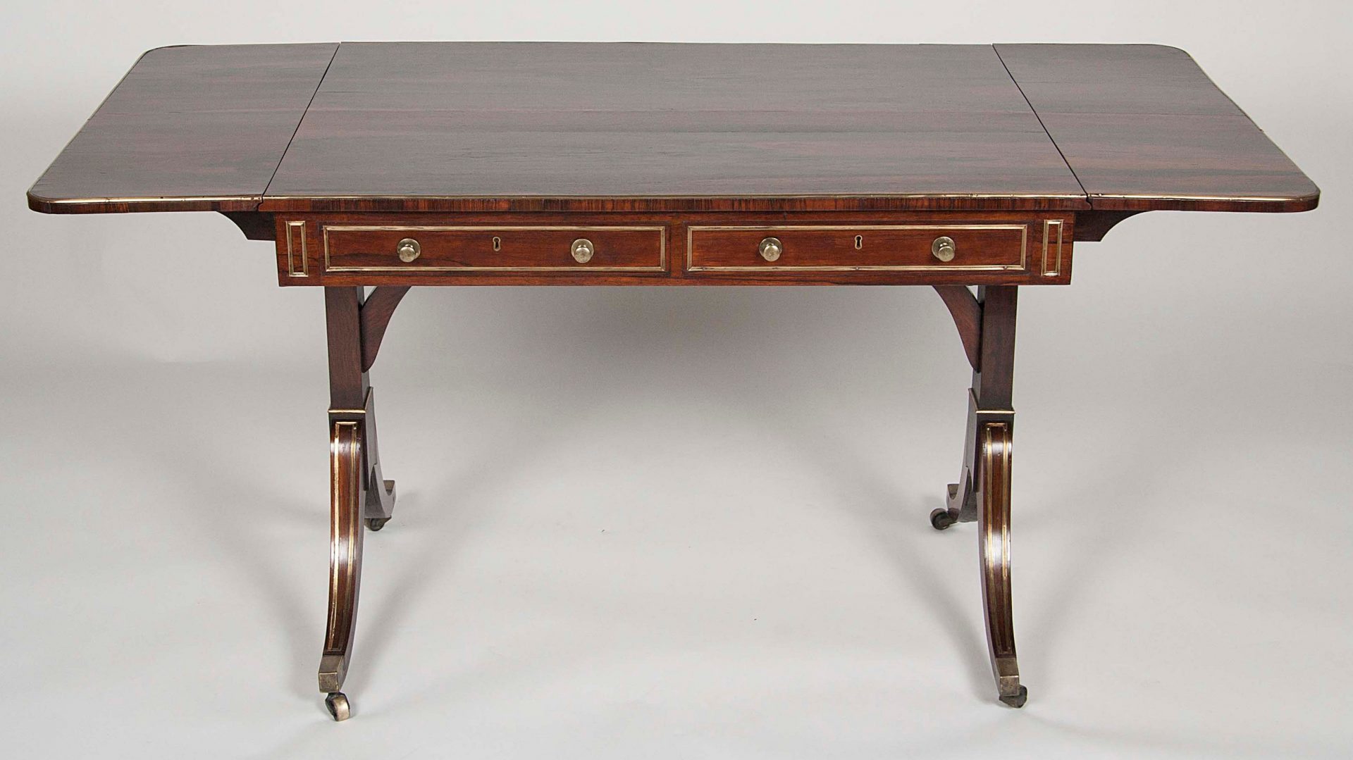 Regency Rosewood And Br Mounted Sofa Table
