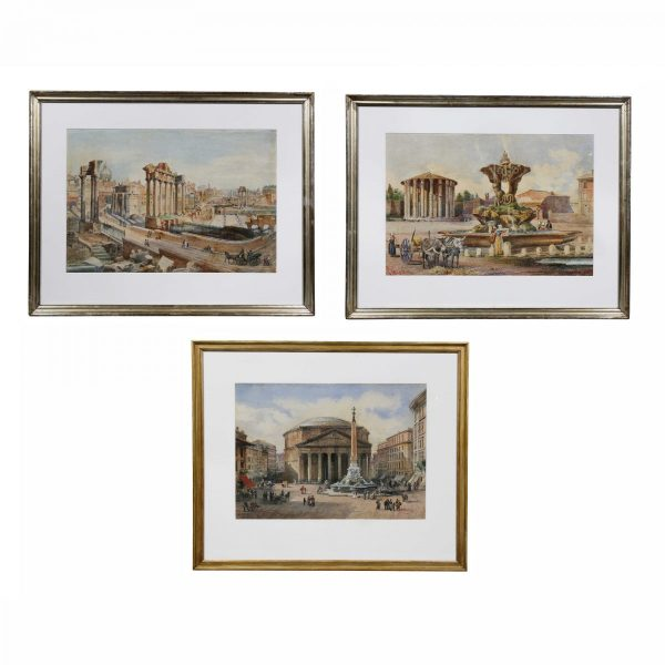 Three Italian Framed Watercolors of Scenes of Rome.
