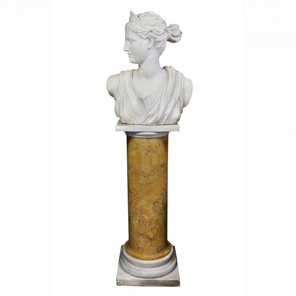 Italian White Marble Bust of Diana on a Faux Sienna Marble Base