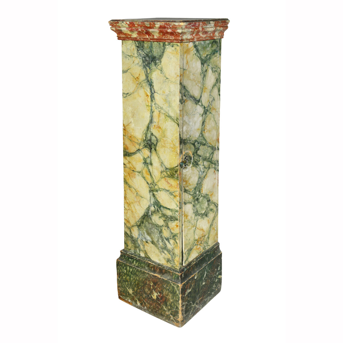 Faux Marble Painted Wood Pedestal or Cabinet.
