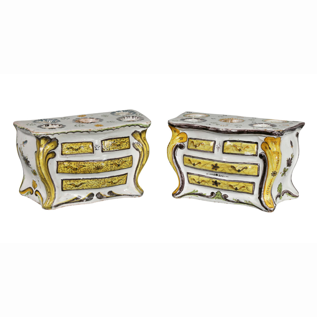 Pair of French Faience Bough Pots in the Form of Commodes