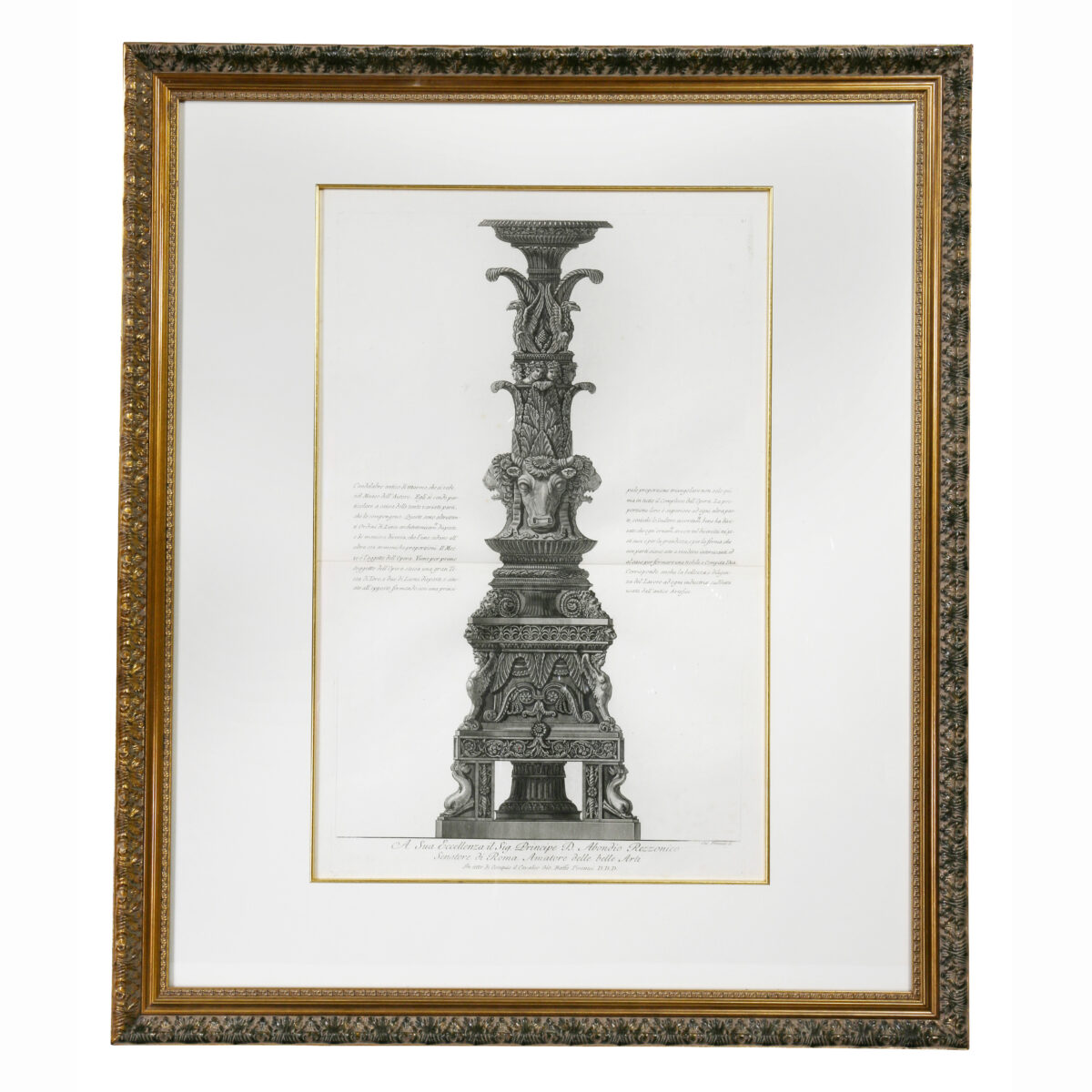Framed Engraving of a Candelabrum by Francisco Piranesi