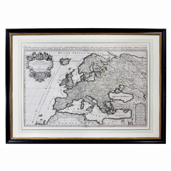 Framed Map of Europe by Nicholas Sanson