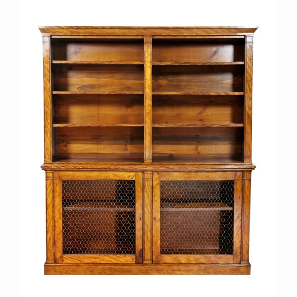 William IV satinwood bookcase in two parts