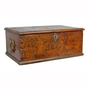 Italian Baroque Walnut Box. Hinged top, decorated overall with incised carving