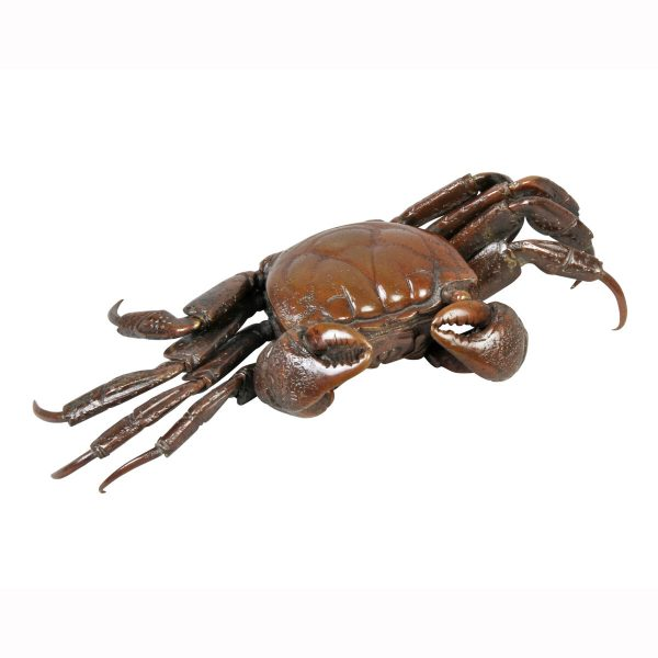 Japanese Meiji articulated bronze crab with dark copper toned patina