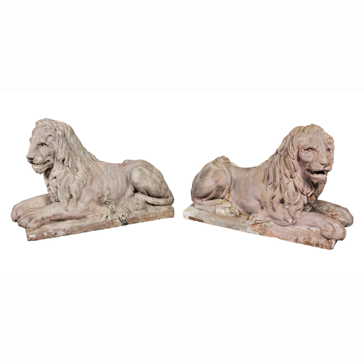 Pair of French Terracotta Figures of Crouching Lions.