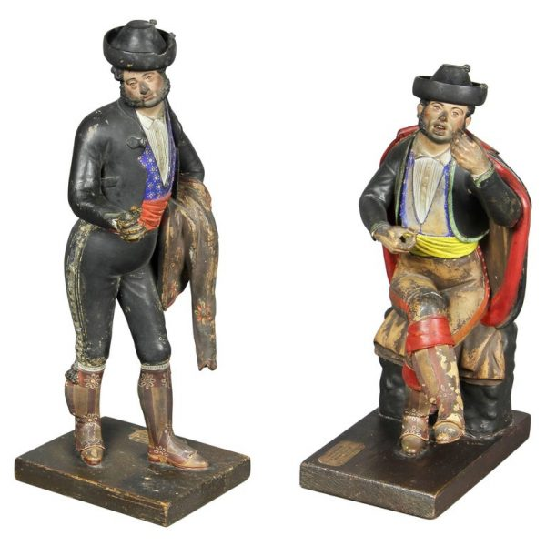Pair of Spanish Polychrome Terracotta Creche Figures, Malaga. One figure depicting a bullfighter, the other a guitar player.