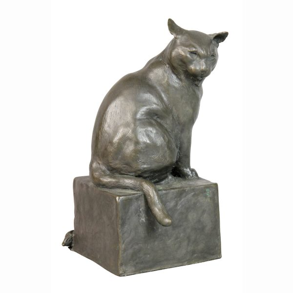 Bronze Figure of a Cat by E.M. Leary Strazzula. This work features a seated cat with a mouse hiding by the base.