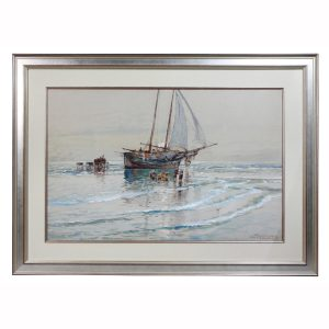 Framed Watercolor by Edmund Darche Lewis