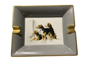 Hermes Porcelain Ashtray. Painted with hounds.