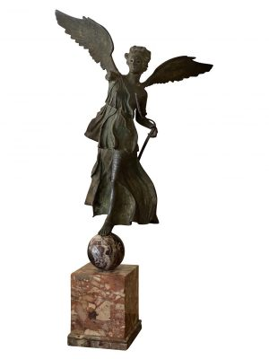 Italian Grand Tour Bronze of a Winged Victory.  The figure standing on a marble sphere supported on a marble plinth. After the antique.