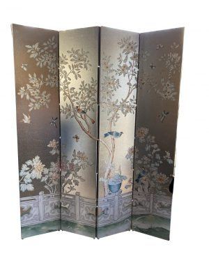 Four-Panel Wallpaper Screen with Chinoiserie scene on a silvered background.