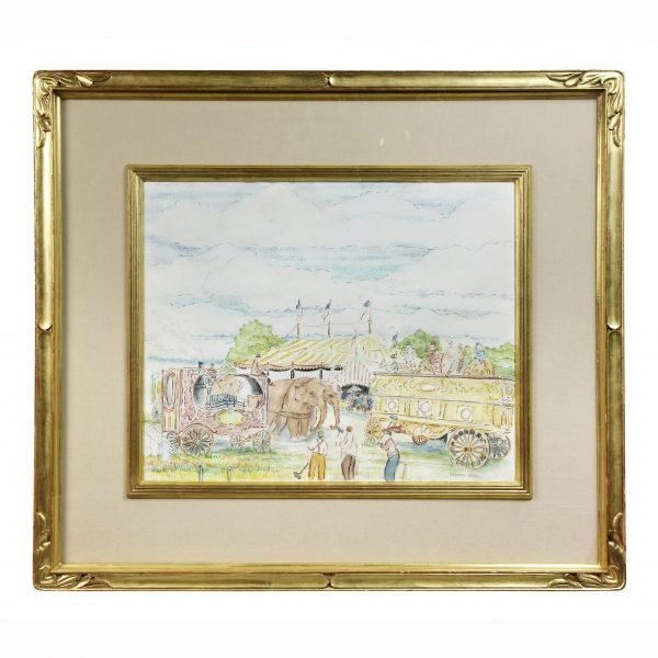 framed water color with circus scene