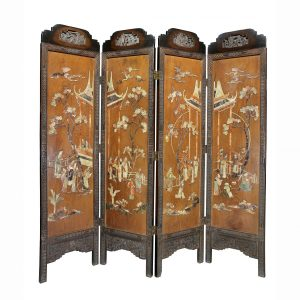 Chinese Teak Four Panel and Hard Stone Mounted Screen with each panel depicting people and buildings in landscape.