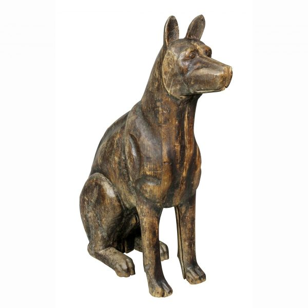 Carved Wood Figure of a Dog in a seated position. Provenance: Dingman Estate.