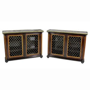 Pair of Regency Rosewood and Satinwood Cabinets / Credenzas