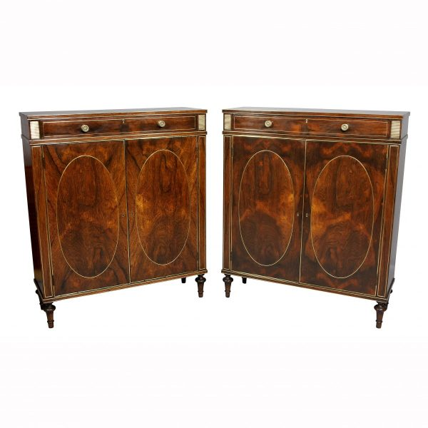 Pair of Regency Style Rosewood and Brass Inlaid Side Cabinets