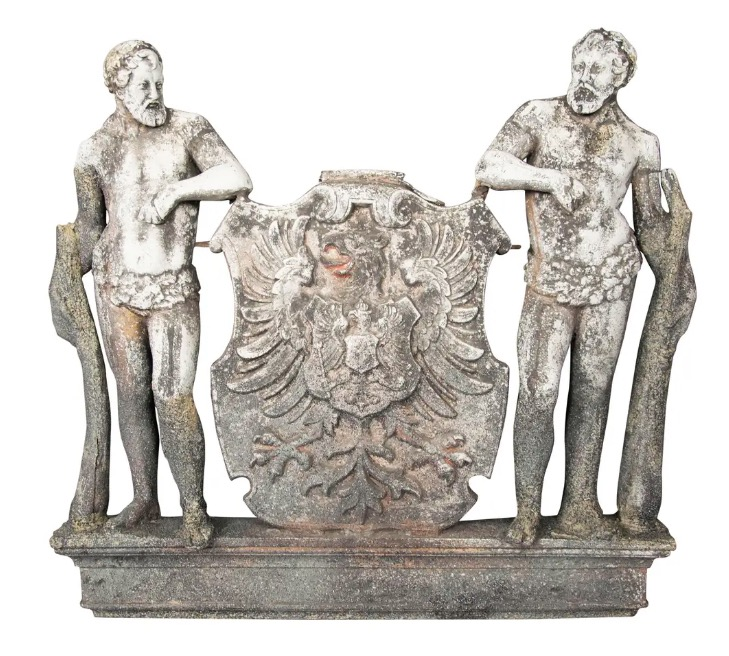 Cast Zinc Crest Bearing The Arms Of The German Empire With Two Herculean Figures