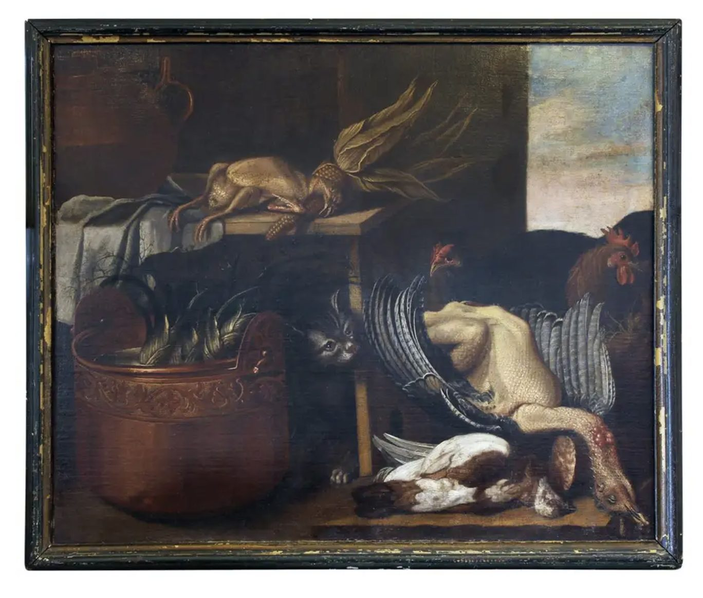 italian still life painting with cat and game