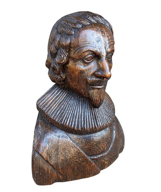 Carved Oak Bust Of A Gentleman Possibly Charles I is a figure with ruffled collar.