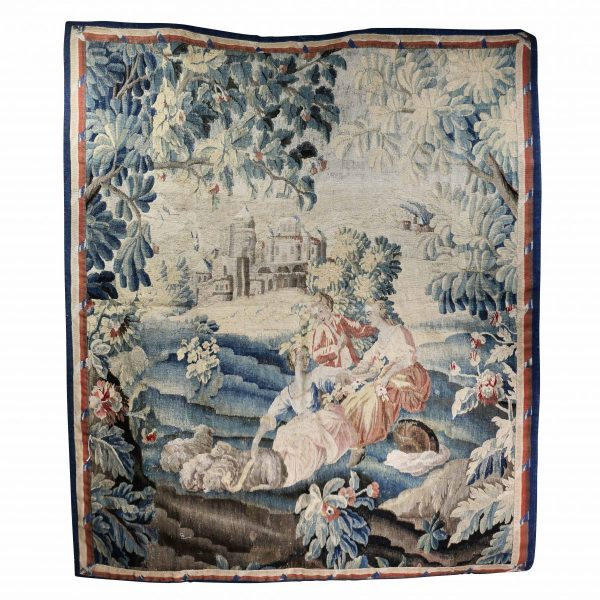 Aubusson Landscape Tapestry with ribbon twist border