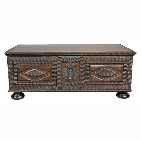 Brazilian Portuguese Colonial Carved Wood Chest