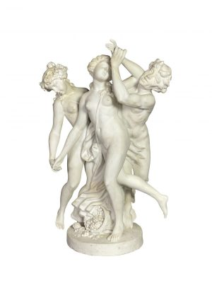 French Bisque Porcelain Centerpiece. Featuring two nude woman with a figure of Pan.