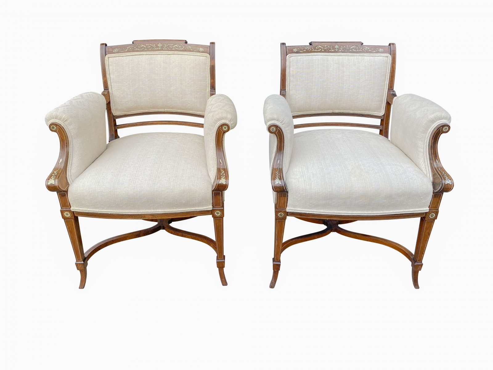 Pair of Anglo-Japanese Rosewood and Inlaid Armchairs, Collinson & Lock